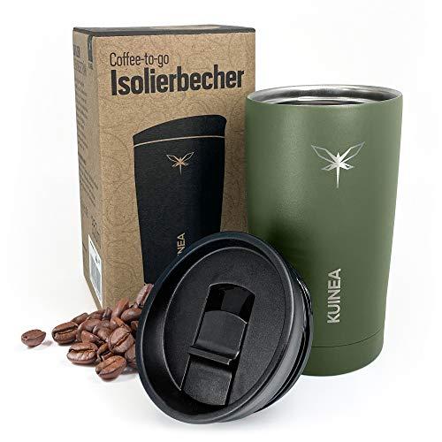KUINEA Kaffeebecher To Go 350 ml I Travel Mug für Kaffee & Tee I Thermobecher Edelstahl hält über 6 Stunden warm und über 8 Stunden kalt I Thermosflasche Isolierbecher spülmaschinenfest I grün