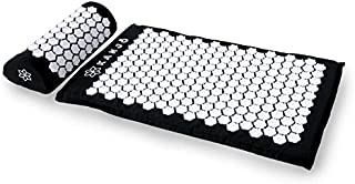 Kanjo - Premium Acupressure Mat & Acupressure Pillow Set | High Density Memory Foam Core | 100% Organic Cotton Cover | Relieves Back Pain & Neck Pain | Includes Carry Bag | Onyx