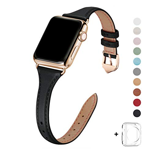 WFEAGL Leather Bands Compatible with Apple Watch 38mm 40mm 42mm 44mm, Top Grain Leather Band Slim & Thin Replacement Wristband for iWatch Series 5 & Series 4/3/2/1 (Black Band+Gold Adapter, 38mm 40mm)