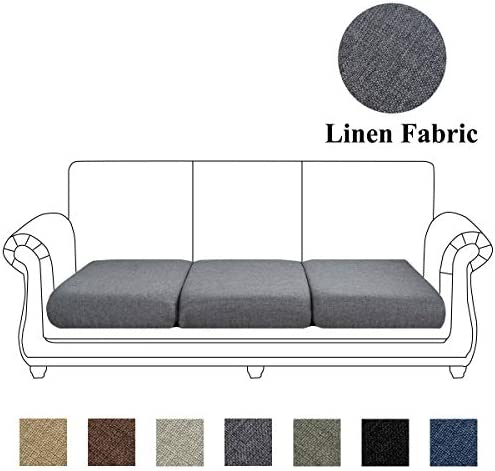 Best Linen Couch Cushion Cover, Sofa Cover Sofa Furniture Protector Slipcover with Bottom Velcro, Soft No