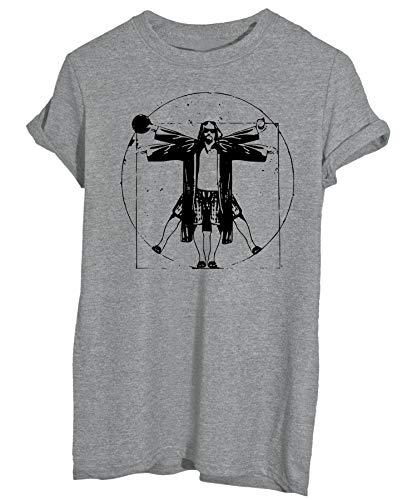 New Indastria T-Shirt Il Grande Lebowski Drugo Uomo Vitruviano Fan Art - Famosi - Uomo-L-Grigia