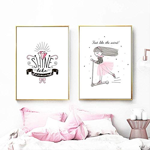 LWJZQT Cuadro sobre Lienzo 2 Piezas Pink Girl Scooter Diamond Quotes Wall Art Canvas Painting Nordic Posters and Prints Wall Pictures Baby Kids Room Nursery Decor 60X80cm