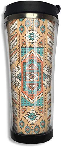 Yuanmeiju Tribal Secret Tribe Estilo bohemio Vaso de café de acero inoxidable Taza de viaje con tapa Taza de café aislada al vacío