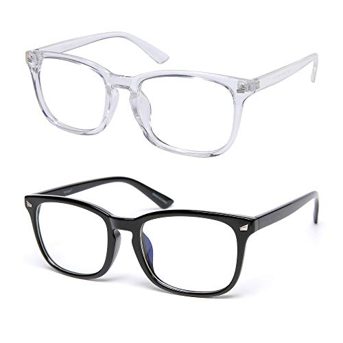 VECIEN Occhiali da computer con blocco luce blu, per computer/telefono/pad/gioco, strai per donna e uomo, anti affaticamento degli occhi, anti abbagliamento, evita mal di testa