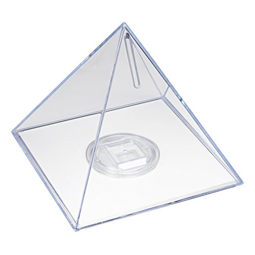 HMF 47600 Spardose Acryl Pyramide, Seitenlänge 12,0 cm, inkl Schlüsselanhänger
