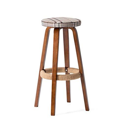 XHCP Hocker Bar Stuhl Barhocker Vereinfachte Domäne Massivholz Rund Hoch Haushalt Kaffee Retro Empfang Schreibtisch Frühstück Küchentheke Stühle Set (Farbe: A)