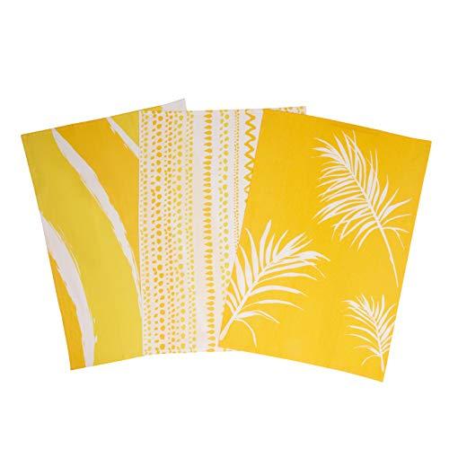 Warden & Co The Sands 100% Cotton Dish Tea Towels. Blue Decor Set of 3, Luxury Dish Cloths. Eco Friendly Coastal Dishtowels. Absorbent, Perfect for Entertaining & Cooking. Fantastic Gift Idea!