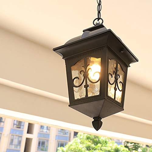 Lampada a Sospensione Metallo Lampada da soffitto in Nero Antico Rustica E27 Cortile Lampadario Impermeabile Alluminio Lampada da Esterno Plafoniera per Giardino Corridoio Balcone Portico