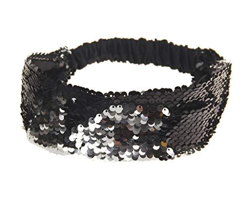 VPbao - Fascia da donna con paillettes reversibili, con paillettes, accessorio elastico per capelli, colore: Nero argento, cod. VPbao-180920LQ077