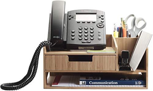 竹製電話スタンド 引き出しペーパートレイ&鉛筆ホルダー収納ソリューション オフィス用品 ペン はさみ ホッチキス ノートパッド 名刺などに