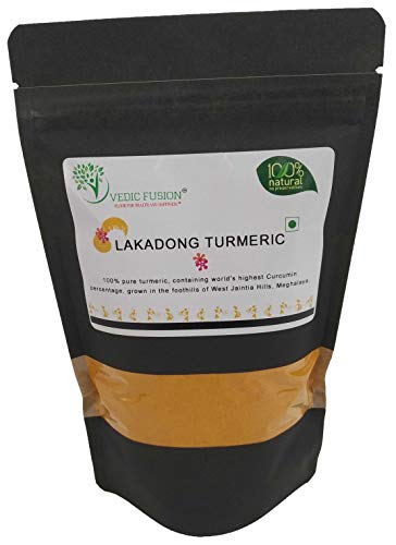 Vedic Fusion - High Curcumin Lakadong Turmeric Powder 200gm - 100% Natural And No Preservatives - Perfect For Cooking, Beauty And Medicine Purposes - Vegan Friendly And Gluten Free