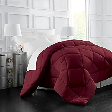 Egyptian Luxury Goose Down Alternative Comforter - All Season - 2100 Series Hotel Collection - Luxury Hypoallergenic Comforter - Full/Queen - Burgundy