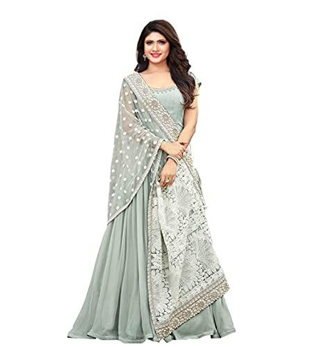 RE Enterprise Women's Pista Color New Latest Georgette Anarkali Stylish Indian Ethnic wear Ladies semistitch Heavy Gown with Dupatta