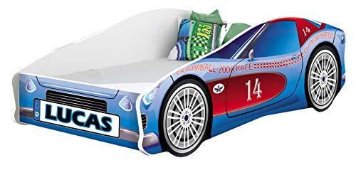 Kinderbett Autobett Auto Junior mit Lattenrost und Matratze 140x70 160x80 180x80 ACMA (160x80, 2 + Name)