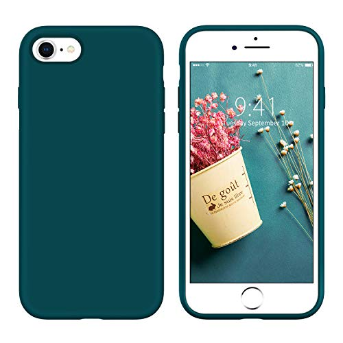 YINLAI iPhone SE 2020 Hülle, iPhone 8 Hülle iPhone 7 Handyhülle Silikon Gel Matte Slim Case Cover Kratzfest Hülle für iPhone SE 2020/8/7,Dunkelgrün