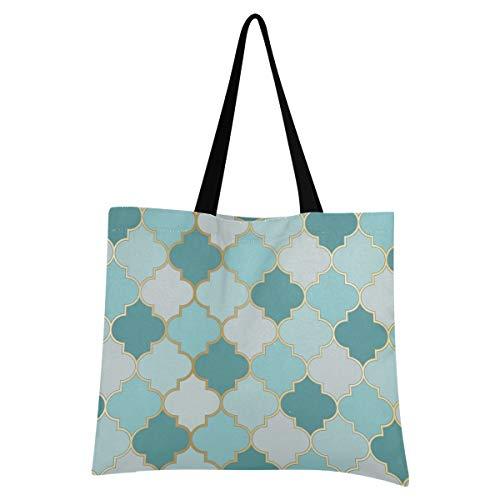 UMIRIKO Marruecos Buffalo Check 2021201 - Bolsa de lona reutilizable para mujer, color azul