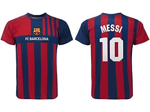 Camiseta oficial de Lionel Messi número 10. Camiseta de la temporada 2021 2022. Primera camiseta Blaugrana. Tallas de adulto y niño. Modelo recuerdo para aficionados.