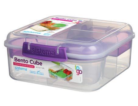 Sistema 5-Fach unterteilte XL Lunchbox BENTO Cube - 1250 ml Vesperdose inklusive Becher mit Schraubverschluss 17,5 x 17,5 x 8 cm (B x T x H) 21685 Lila