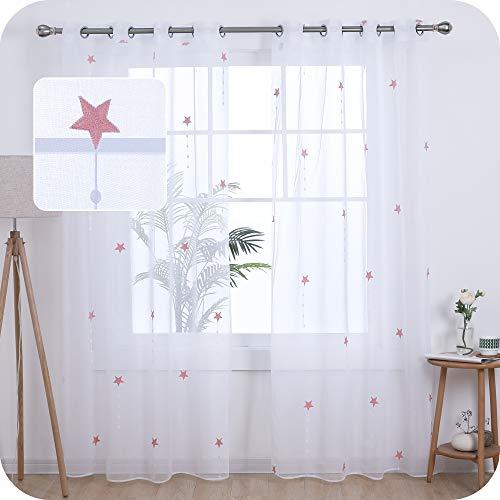 UMI. by Amazon 2 Stück Transparent Gardinen Leinen Wohnzimmer Voile Vorhang Ösenvorhang Vorhang 240x140 cm Pink