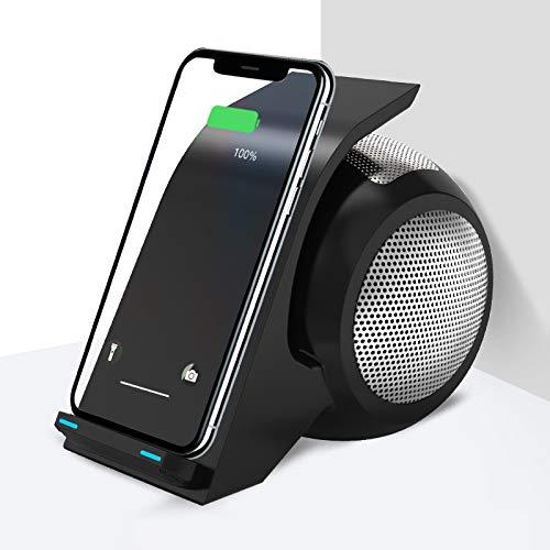 Cargador InaláMbrico 3 En 1 EstacióN De Carga Inductiva Elegante Soporte para TeléFono Cargador InaláMbrico Bluetooth Base De Altavoz EstacióN De Carga del TeléFono MóVil