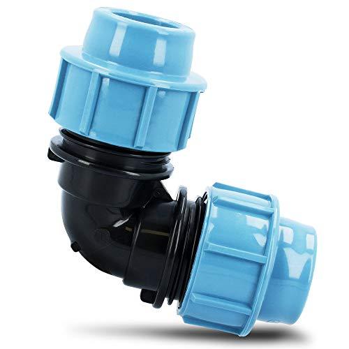 PE Rohr Winkel Bogen 90° 20 mm x 20 mm   Trinkwasser Plast Kunststoff Wasseranschluss   Verschraubung Bewässerungssystem Fitting Kupplung Wasserrohrbogen   Anschluss Wasserleitung