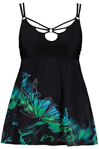 Ulla Popken Damen große Größen Badekleid, Schmetterlings-Motiv, Softcups schwarz 48 723609 10-48