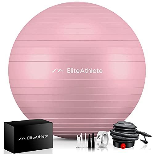 EliteAthlete Gymnastikball - Sitzball - Anti Burst - Yogaball - Fitness Gym Pilates Core Büro Stuhl Schwangerschaft - Yoga Ball inkl. Luftpumpe