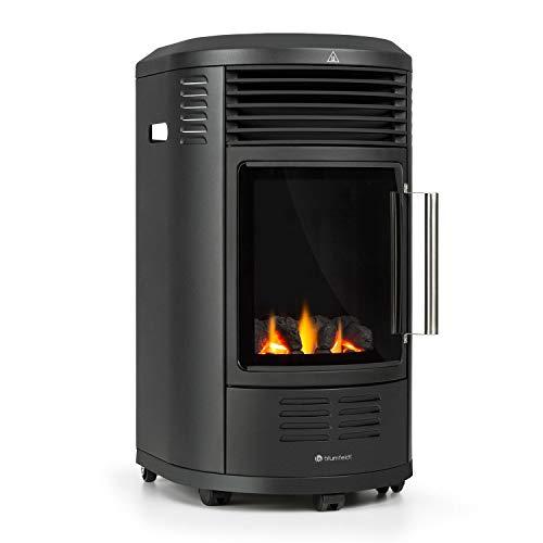 blumfeldt Andora Deluxe Gasheizofen - zwei Heizstufen mit 2 und 3,4 kW, Thermostat, bis 11 kg Gasflaschen, Heizfläche: bis 68 m², inkl. Schlauch und Druckminderer, Feuerschein, schwarz