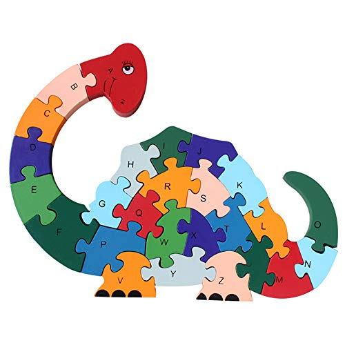 DD Wooden Jigsaw Puzzles Winding Dinosaur Toys Animal Letter Number Puzzles Alphabet Blocks ABC Learning Game Preschool Educational Toys Gift for Toddlers Boys Girls Kids Age 3 4 5 and Up Years