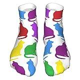 OUYouDeFangA Colorido arco iris Gatos Patrón Adulto Calcetines Algodón Acogedor Calcetines Cortos Para Yoga Senderismo Ciclismo Correr