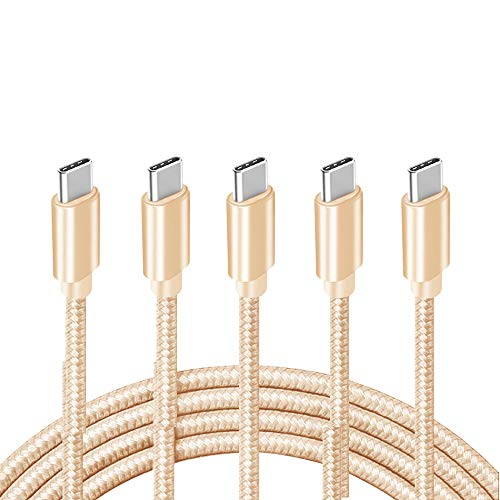 USB C Cable 6FT, 【5-Pack 3A】 Fast Charge Durable Nylon Braided USB A to USB C Charging Cable Compatible with Samsung Galaxy S20/ S20 Plus/S10/S9/Note 20 Ultra/Google Pixel, Gold