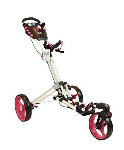 Yorrx Golftrolley SL Pro 7 HAMMA Plus Ausstattung, Golfwagen mit innovativem 360° Spin Vorderrad (pink) inkl. Orig Regenschirmhalter, Golfhandtuch & Tees …