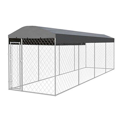 Festnight Hundezwinger Hundehütte Hundehaus aus Stahl mit Überdachung 800 x 200 cm