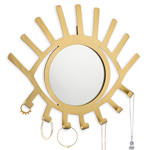 Kimisty Boho Wall Hanging Eye Shaped Gold Mirror with Jewelry Holder, Modern Decorative Necklace...