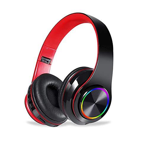 DJXLMN Auriculares Inalámbricos Bluetooth Auriculares Estéreo Suaves Orejeras Micrófono Incorporado Modo Cableado Pc/Teléfono Móvil/TV-Negro Rojo