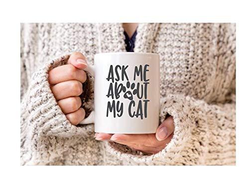 Koffie mok, Thee Beker, Vraag me Over Mijn Kat, Keramische Koffie Beker, Kat Liefhebber Gift Mok, Aangepaste Gepersonaliseerde Laser Gegraveerde Mok, 11 oz Keramische Koffie of Thee Mok