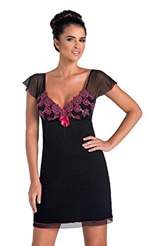 Donna verführerisches und sehr hochwertiges Nachthemd/Negligee/Sleepshirt mit Spitzendetails Made in EU, Schwarz/Pink Kurzarm, Gr. 46 (3XL)