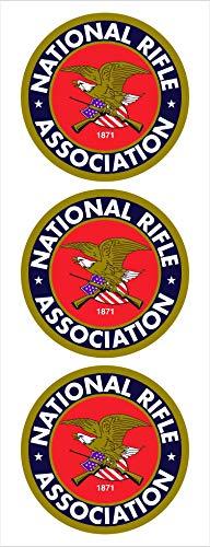 "(3) 2"" Round NRA National Rifle Association Logo Car Decal Sticker Vinyl American USA Merica United States Helmet Toolbox Hardhat"
