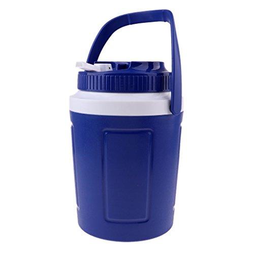 Hellery Cubo de Plástico para Acampar Ice Cube Cooler Wine Beer Bucket con Tapa Y Asa - Azul 5L