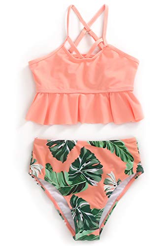 XUNYU Girls Swimsuit Falbala High Waisted Bathing Suit Halter Neck Bikini Swimwear Orange Floral Bikini 11-12 Years