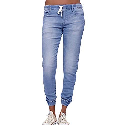 VRTUR Sommerhosen Damen Leichte Mit Gummizug Kordelzug Jeanshosen Freizeithose Einfarbig Casual Lose Hose Baggy Pants (Small,Hellblau)