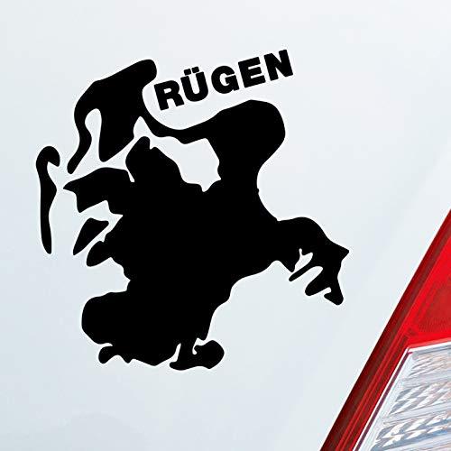 Auto Aufkleber in deiner Wunschfarbe Rügen Spaß Insel Deutschland Urlaub 10x9cm Autoaufkleber Sticker Folie