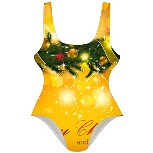 TIZORAX vrolijke kerst slinger gouden vrouwen een stuk badpak badmode badpak