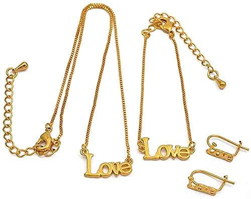 LBBYLFFF Me Gusta el Collar para bebé Collar de 30 cm/Pulseras de 13 cm Pendientes para niños pequeños joyería de Color Dorado Collar de Regalos para niños pequeños