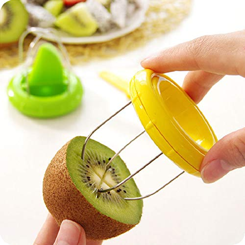 Benrise Kiwi Fruit Peel Cutters Fruit Core Diggers Novelty Kiwi Cutter Peeler Vegetable Fruit Slicer Kitchen Food Divider Corers Digging Core Twister Green Durable and Useful