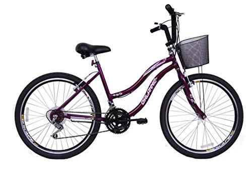 Bicicleta Aro 26 Feminina Beach 18 Marchas Violeta