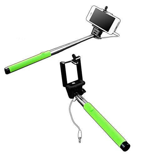 Selfie Stick Stange mit 3,5mm Klinkenstecker   Monopod Teleskop   Farbe - Grün   Selbstauslöser für IOS iPhone Samsung Android Huawei Smartphone   Erweiterbarer Fernauslöser   Mini Selfiestange