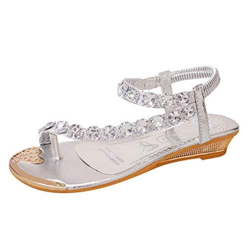 Sandalias para Mujer Verano 2019 Tacon Bajo PAOLIAN Sandalias Fiesta Cuña Elegantes Bodas Zapatos de Vestir del Dedo del Pie Casual con Pedreria Bohemia Moda