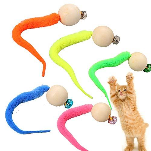 Wiggly Ping Katzenspielzeug, 2020 Neuestes Simulation Wurm Spielzeug mit Glocke für Haustier Indoor Katzen, 5 Stück, zufällige Farbe