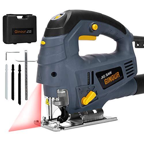 Stichsäge, Ginour Elektro-Stichsägen 800W mit Laserführung 3000 SPM mit 7 variabler Geschwindigkeit, 3 Klingen, Doppelseitenschnitt (0 °- 45°), Vakuumrohr Perfektes Holzbearbeitungswerkzeug